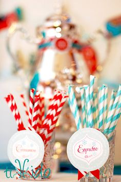 How to make flavored mix ins for hot cocoa (cinnamon, mint, espresso, etc.). And even better, they use striped paper straws, so they look like old fashioned pixie stix candy--but these ones are Mixie Sticks, for mixing into the hot chocolate! Perfect for Christmas parties and all winter long.