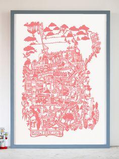 San Francisco Pink Screen Print