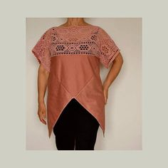 Women's tunic kimono crochet top tunic size L artsy