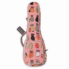 Cute Padded Miss Cat Canvas Ukulele Cases for Soprano Ukulele Ukulele Carry Bags