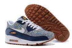 Nike Air Max 90 Liberty QS Blue Recall White Atomic Mango Linen Womens Running Shoes