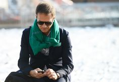 POP OF GREEN  Tommy Ton's Street Style: Pitti Uomo Fall 2013: Style: GQ