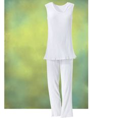 White Cotton Pants Set - New Age, Spiritual Gifts, Yoga, Wicca, Gothic, Reiki, Celtic, Crystal, Tarot at Pyramid Collection