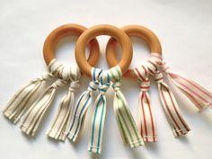 ORGANIC Wood Teething Ring Toy w/ Organic Cotton by H3idihoDesigns, $5.50