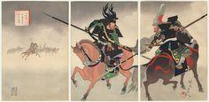 The Battle of Komaki: Kato Kiyomasa and Honda Tadakatsu, 1899 by Chikanobu (1838 - 1912)