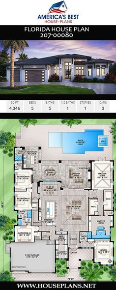 Florida House Plan - Get excited over Plan a Florida home design featuring sq. 5 Bedroom House Plans, Porch House Plans, Cottage Style House Plans, House Layout Plans, Garage House Plans, House Plans One Story, Bungalow House Plans, Family House Plans, Bungalow House Design