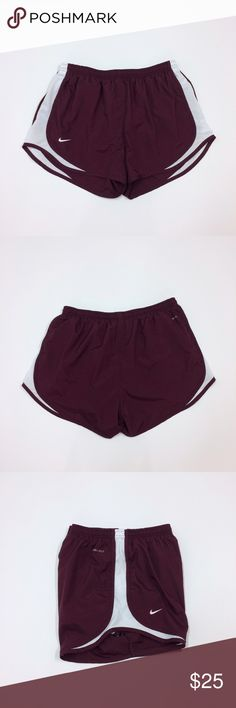 Will Run For Wine Shorts Maroon nike running shorts with white mesh side panels. Don't these look like the perfect shade of wine? I will indeed run for wine. And I have! I ran a wine-themed 5k. Sometimes being an adult has its perks.   •No trades •No holds •Offers & bundles made through the offer/bundle tools Nike Shorts