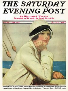 1926 Saturday Evening Post Cover ~ Lady on Boat ~ Clarence Underwood, Vintage Magazine Covers Old Magazines, Vintage Magazines, Vintage Ads, Vintage Posters, Vintage Paper, Susan Branch Blog, Journal Vintage, Nostalgia, Saturday Evening Post