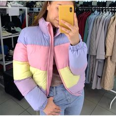 [Women] Pastel Ranbow Zipper Parka Coat – Outfit Looks Winter Jackets Women, Coats For Women, Clothes For Women, Girls Puffer Jacket, Glitter Jacket, Womens Parka, Parka Coat, Outerwear Jackets, Scrappy Quilts