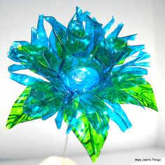 Upcycled Turquoise Blue Fantasy Flower Made of Plastic Water Bottles