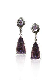MARC Sterling Silver Purple Quartz Marcasite Dangle Drop Earrings $129