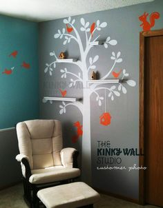 Children Wall Decal Wall Sticker - Shelving Tree Wall decal Nursery Decal- KK125. $82.00, via Etsy.