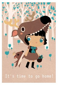 Illustration print: It's time to go home little deer. Limited /200 A5. $5.00, via Etsy.