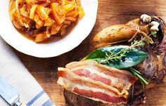 Roast pheasant with Smoked Bacon, and orange and onion marmalade and juices_    This autumnal dish from Shaun Rankin pairs the gaminess of the pheasant meat with a rich, tangy and aromatic conserve in this roast pheasant recipe.