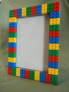 Picture Frames made using LEGO® elements This LEGO®️️ picture frame is perfect to show off the personality of anyone who loves Lego and having fun! Alternatively, the frame could be used for as a small dry erase board. The frame will hold a ph Kids Crafts, Diy And Crafts, Deco Lego, Cadre Photo Diy, Diy Photo, Marco Diy, Maker Fun Factory Vbs, Picture Frame Crafts, Decorating Picture Frames