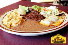 Come for a tour of México! Our Tampiqueña is a sampling of Mi Pueblo's classic flavors including our grilled skirt steak with sautéed onions & grilled hot pepper, one bean tostada, one cheese enchilada along with rice & beans. Yum. #Detroit