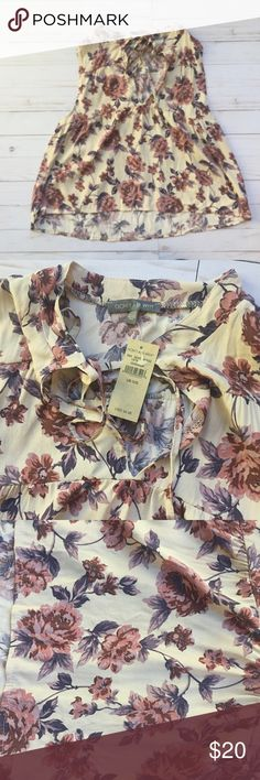 NWT Don't Ask Why Floral Top 100% Viscose One Size  :shoulder to hem=19.5 Chest 36 inches  Enough coverage in the shoulders and chest. Perfect for work or casual wear. One size. New with tags!! DON'T ASK WHY Tops Blouses