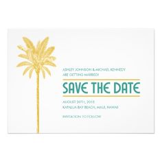 Palm Tree Save The Date Custom Announcements
