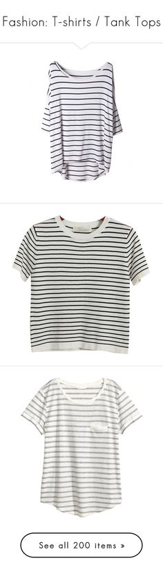 """Fashion: T-shirts / Tank Tops"" by katiasitems on Polyvore featuring tops, t-shirts, shirts, blusas, stripe shirt, stripe t shirt, striped tees, half sleeve shirts, tee-shirt and tees"