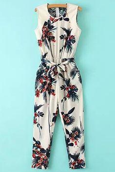 Leaf Print Sleeveless Jumpsuit