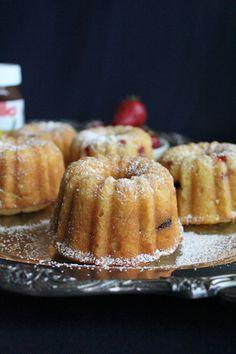 Strawberry Mini Bundt Cakes with Nutella Swirled in!