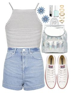 """""""Silver"""" by tinasxx ❤ liked on Polyvore featuring moda, Urbancode, Urbanears, Topshop, Converse, Essie, R.J. Graziano, Forever 21, Bobbi Brown Cosmetics i white"""