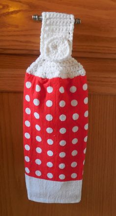 Hanging Kitchen Towel Crochet Top Red By Shelleyscrochetole 6 00 Dish Towels Ons