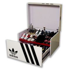 """CLASSIC ADIDAS SNEAKER STORAGE BOX 40"""" X 30"""" X 20"""" ONLY $350   FITS UP 16 PAIRS COMFORTABLY  BEST QUALITY AROUND #BoxUrKicks #CustomSneakerBoxStorage FREE SAME DAY PICK UP AVAILABLE IN NY   DELIVERY CHARGE FOR OUT OF STATE CUSTOMERS. PLEASE EMAIL: BOXURKICKS@GMAIL.COM OR SEND US A DM TO INQUIRE. OVER 10 CUSTOMIZABLE STYLES."""