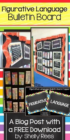 Figurative Language Bulletin Board blog post with free download! Love this bulletin board and love those teacher freebies!