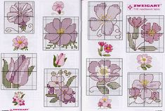 Tiny Cross Stitch, Cross Stitch Cards, Cross Stitch Flowers, Cross Stitch Designs, Cross Stitching, Cross Stitch Embroidery, Cross Stitch Patterns, Small Flowers, Purple Flowers
