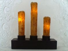 Candelabra Burnt Ivory Drip Nook Timer Candle, Black Resin Base w/ Three Candles Black Candles, Led Candles, Candle Lanterns, Primitive Gatherings, Primitive Crafts, Candelabra, Country Decor, Nook, Craft Supplies