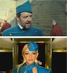 Russell Crowe retweeted a picture a fan posted, which points out that Crowe's character in Les Miserables dresses distinctly similar to Britney Spears in the film clip to her chart-topping hit, Toxic.