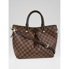 Pre-owned Louis Vuitton Damier Canvas Siena MM Bag ($1,395) ❤ liked on Polyvore featuring bags, handbags, brown handbags, man bag, hand bags, strap purse and canvas handbags