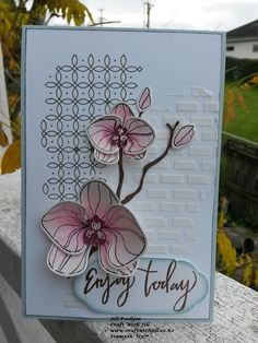 Stampin' Up! Climbing Orchid, with Stampin' Up! texture paste and Graceful Garden.