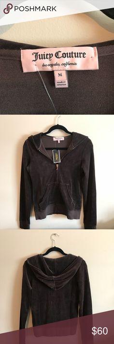 Juicy Couture Zip Up Dark brown velour sweatshirt. Fitting. Never worn. New with tags. Juicy Couture Tops Sweatshirts & Hoodies