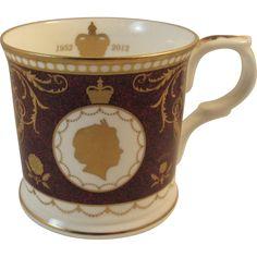 Mulberry Hall Diamond Jubilee Bone China Mug Queen Elizabeth II England