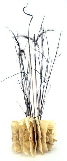 """Artists' book by Mary-Ellen Campbell. Corn Husks and Prairie grass, corn husks, prairiegrass 24x12"""""""