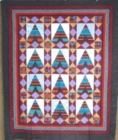 "Amish Made! Navajo ""Teepee"" QUILT Top Vintage 78"" x 64"""