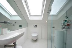 white shower-room in attic space