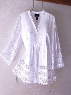 Kurta Designs, Blouse Designs, White Lace Blouse, Moda Boho, Shirts & Tops, White Shirts, Lace Tops, Lace Blouses, Vintage Lace