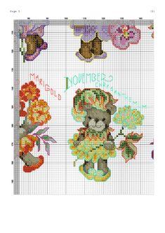 Teddy bear flowers months cross stitch 5