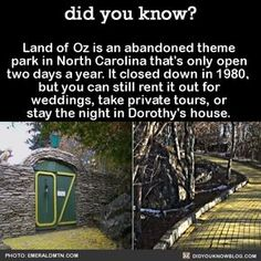 The Land of Oz is an abandoned theme park in North Carolina. You can still rent it out for weddings, take private tours, or stay the night in Dorothy's house I Want To Travel, Beautiful Places To Travel, Cool Places To Visit, Things To Know, Did You Know, Land Of Oz, All Nature, Wtf Fun Facts, Future Travel