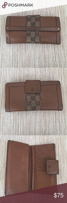 Gucci Wallet Cool Gucci wallet - leather and Gucci logo.  Some wear but Wally is in sound condition.  Not stretched out.  Includes large change purse and room for unfolded bills and credit cards. Gucci Bags Wallets