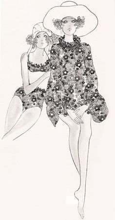"justseventeen: ""June ""Ruffles bubble up like splashy little waves on summer beachmates in a sizzling, happy-go-lucky print. Fashion Illustration Sketches, Fashion Sketches, Illustration Art, Drawing Fashion, Vintage Illustrations, Fashion Images, Fashion Art, Vintage Fashion, Vintage Style"