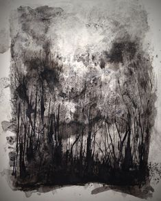 Ink drawing of trees in the landscape