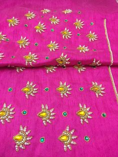 Hand Embroidery Videos, Bead Embroidery Patterns, Embroidery Works, Simple Embroidery, Embroidery Designs, Wedding Saree Blouse Designs, Simple Blouse Designs, Mirror Work Blouse Design, Maggam Work Designs