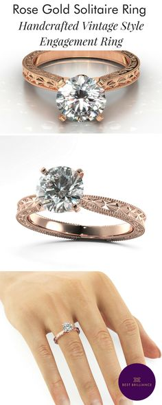 Unique Handcrafted Vintage Style 18K White Gold Solitaire Ring. Center Diamond is 1.54 Carat G color SI1 Clarity Round Brilliant Cut. Explore simple diamond engagement rings for brides and wedding bands at https://bestbrilliance.com/popular-on-instagram/1-54-carat-g-si1-round-brilliant-diamond-18k-white-gold-vintage-handcrafted-ring-j99944-html.html | Affordable Rose Gold Jewellery