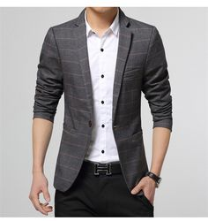Cheap Blazers, Buy Directly from China Suppliers: 2015 Summer Korean Unique Mens Plaid Blazer Masculino Slim Fit Single Button Black Cotton Casual suit jacket mens styli Blazers For Men Casual, Casual Suit Jacket, Casual Blazer, Plaid Blazer, Dress Casual, Plaid Dress, Blazer Outfits Men, Mens Fashion Blazer, Vestidos