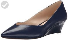 Nine West Women's Elenta Leather Wedge Pump, Navy, 8.5 M US - All about women (*Amazon Partner-Link)