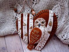 Owl on Birch Tree Ornament by SandhraLee on Etsy